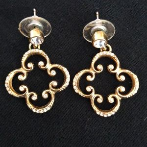 Brighton Gold Quatrefoil Clover Drop Earrings